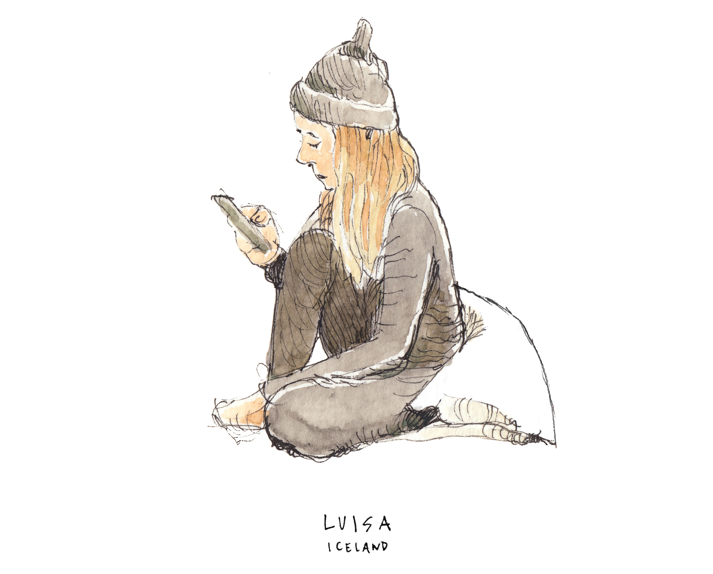 Sketch of Luisa Salles during our trip around Iceland for We Just Wanted Free Internet.